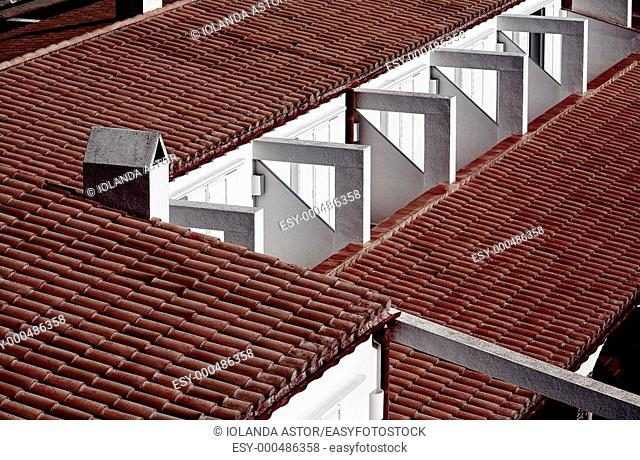 Geometry  Roof of an apartment building  Costa Brava  Spain