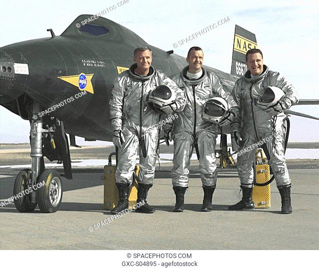 NASA pilots Milton O. Thompson, William H. Bill Dana, and John B. Jack McKay are seen here in front of the 2 X-15 56-6671 rocket-powered research aircraft