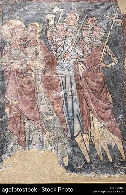 The kiss of Judas, 14th century wall paintings of Urries, fresco torn and transferred to canvas, come from the church of San Esteban de Urries