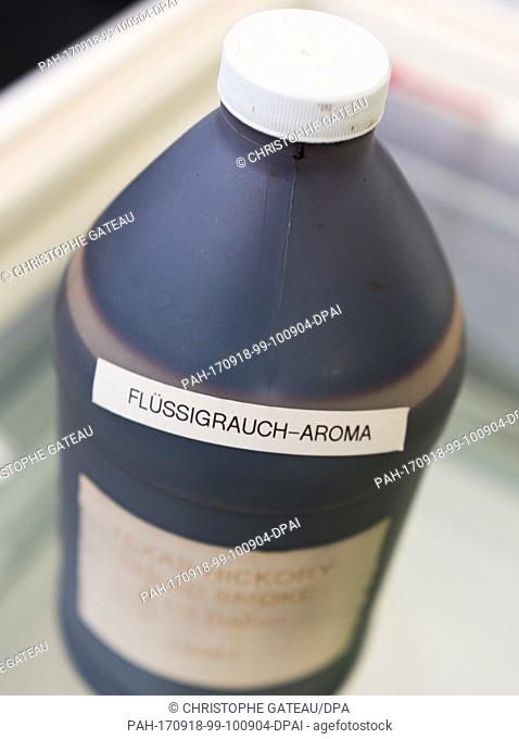 "The addative """"Fluessigrauch-Aroma"""" (lit. liquid smoke flavouring) at the German Museum of Additives in Hamburg, Germany, 12 September 2017"