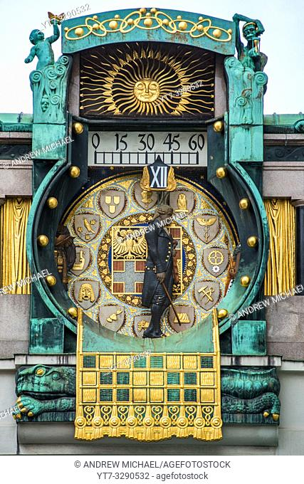 Ankeruhr (Anker clock) at Hohen Markt square, famous astronomical clock in Vienna, Austria built by Franz von Matsch