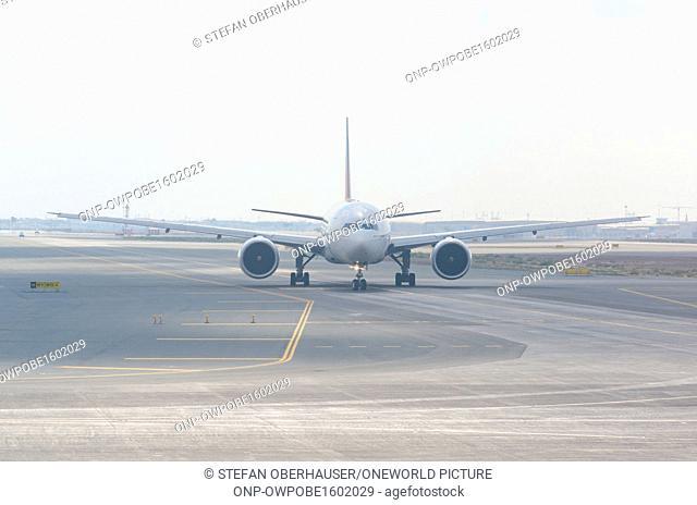 United Arab Emirates, Dubai, airplane on the runway