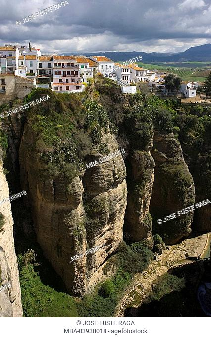 spain, Andalusia, Ronda, city view, El Tajo, destination, sight, city, canyon, rocks, rockfaces, cliffs, steep-walls, houses, residences, heaven, clouded sky