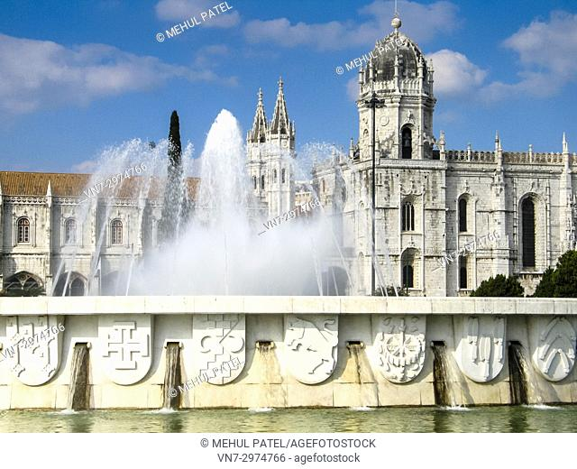 The Fonte Luminosa in front of the Jeronimos Monastery in the Belem district of Lisbon, Portugal. The monastery is thought to have been built in 1502 to...