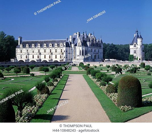 France, Europe, Chateau de Chenonceau, Loire Valley, Indre, French, formal, gardens, historical, architecture, buildin