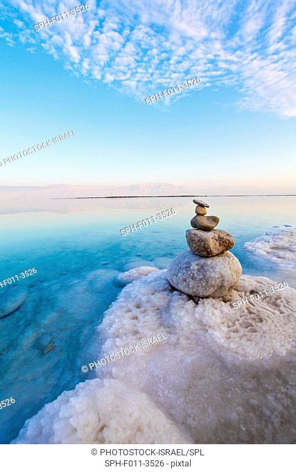 Israel, Dead Sea, salt crystallization caused by water evaporation