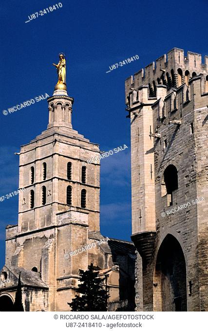 France, Provence, Avignon, Papal Palace, Palais des Papes and Notre Dame des Doms Cathedral