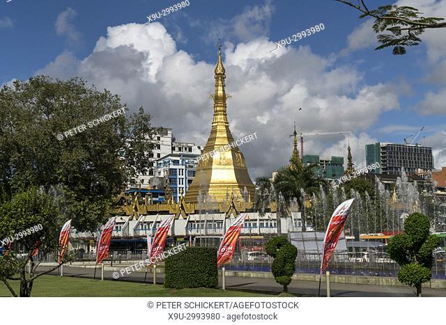 Sule Pagoda in Yangon or Rangoon, Myanmar, Asia