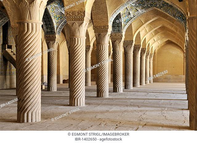 Shabestan Pillars in the prayer hall of Vakil Mosque, Shiraz, Fars, Persia, Iran, Asia