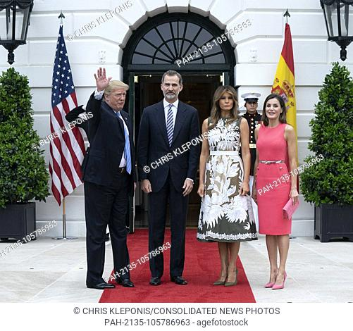 United States President Donald J. Trump and First Lady Melania Trump welcome King Felipe VI and Queen Letizia of Spain to The White House in Washington, DC