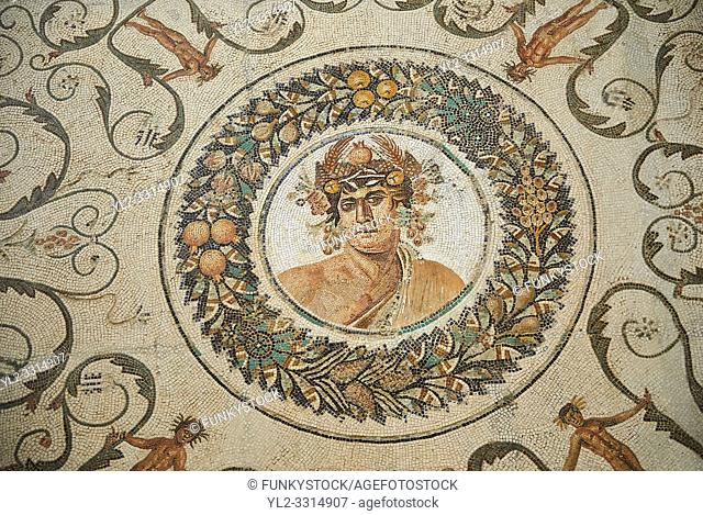 Pictures of a Roman mosaics design depicting the Four Seasons, from the Maison de la Procession Dionysiaque, ancient Roman city of Thysdrus