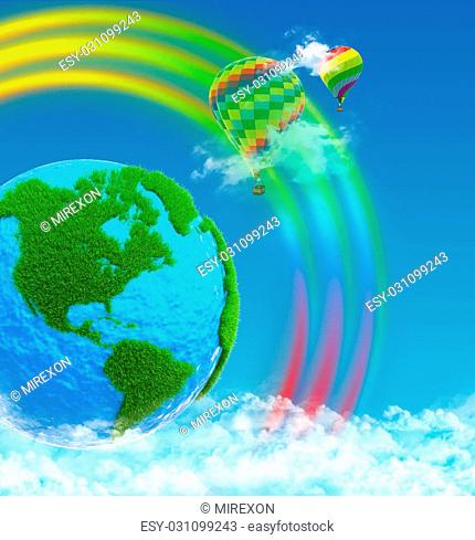 Planet earth with continents made of grass. Balloons on rainbow background. Sky and clouds
