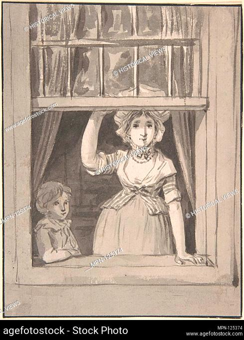 A Woman Standing at an Open Sash Window, a Small Boy Beside Her. Artist: Anthonie Andriessen (Dutch, Amsterdam 1746-1813 Amsterdam); Date: mid-18th-early 19th...