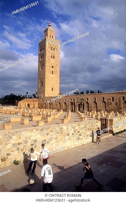 Morocco, Marrakesh, the minaret of Koutoubia mosque