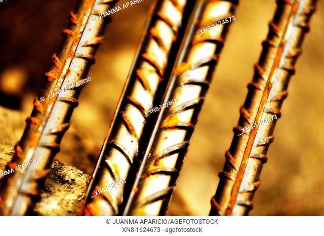 Photographed rebar rods near