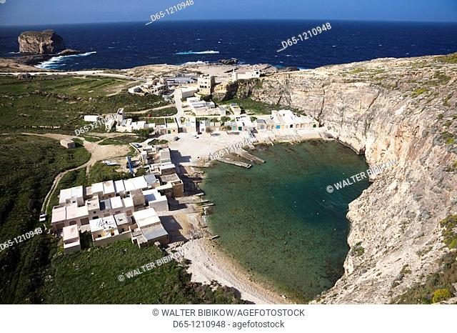 Malta, Gozo Island, Dwejra, elevated view of the Inland Sea