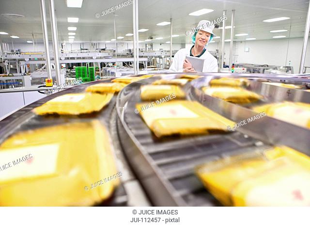 Quality control worker with digital tablet watching cheese at production line in processing plant