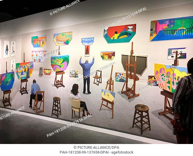 """05 December 2018, US, Miami: At the Art Basel art fair in Miami, visitors stand in front of the painting """"""""Inside It Opens Up As Well"""""""" by the artist David..."""