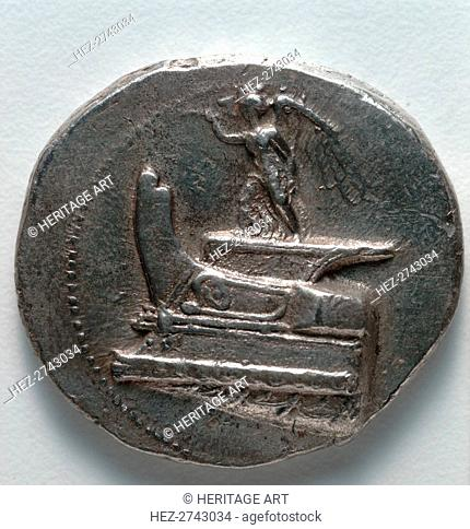 Tetradrachm: Nike Blowing Trumpet, standing on war galley prow (obverse), c. 300-295 BC. Creator: Unknown