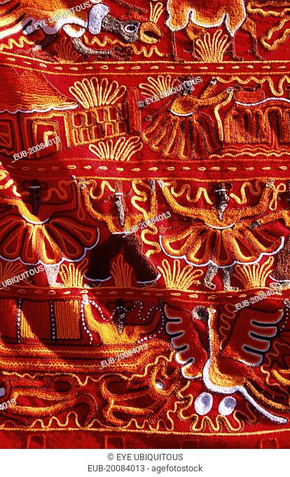 Colourful patterned embroidered cloth in the market, Ollantaytambo, Sacred Valley of the Incas