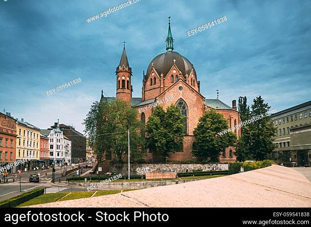 Oslo, Norway. Trefoldighetskirken - Holy Trinity Church at Akersgata Street. Summer Day