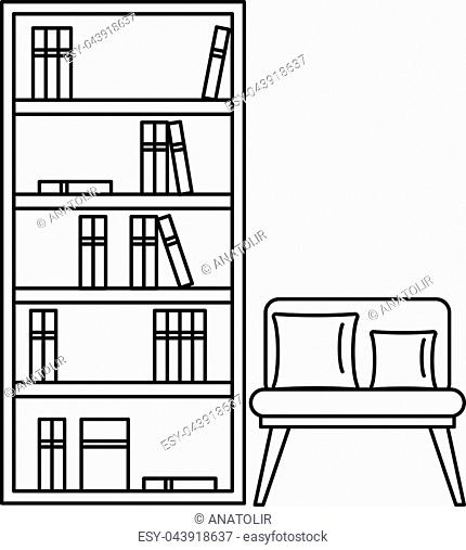 Reading room icon. Outline illustration of reading room vector icon for web design isolated on white background