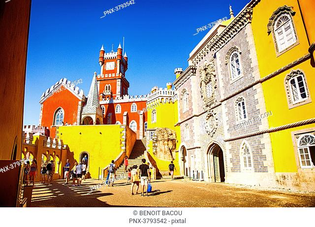 View of a course of Pena National Palace, Sintra, Lisbon area, Portugal