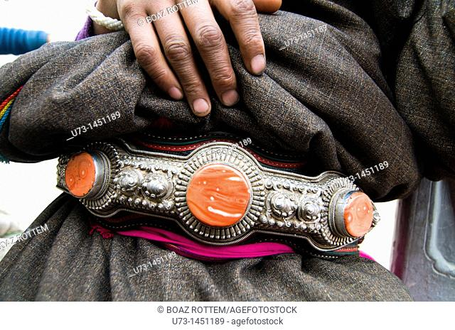 A traditional Tibetan belt decorated with semi precious stones