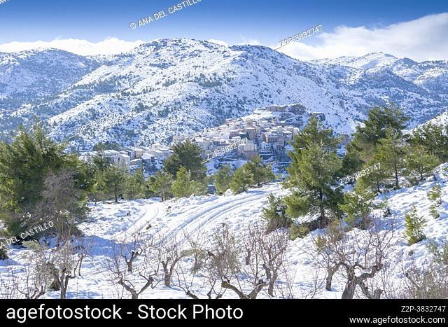 Snowy village of Bejis Alto Palancia region mountains in Castellon province Spain after Filomena snow storm