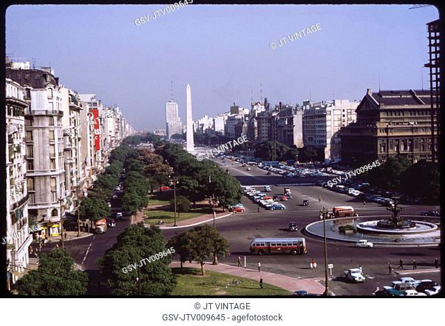 View of Avenida 9 de Julio, Buenos Aires, Argentina, 1963