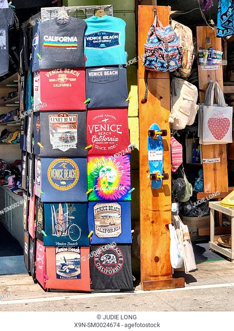 Venice Beach, Santa Monica, CA, USA. Looking at a Display of Souvenir T-Shirts on the Boardwalk. EDITORIAL USE ONLY