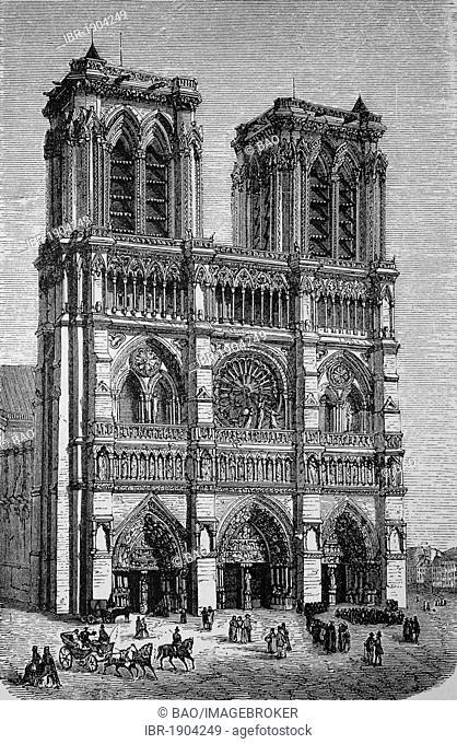 Notre Dame in Paris, France, historic woodcut, 1870