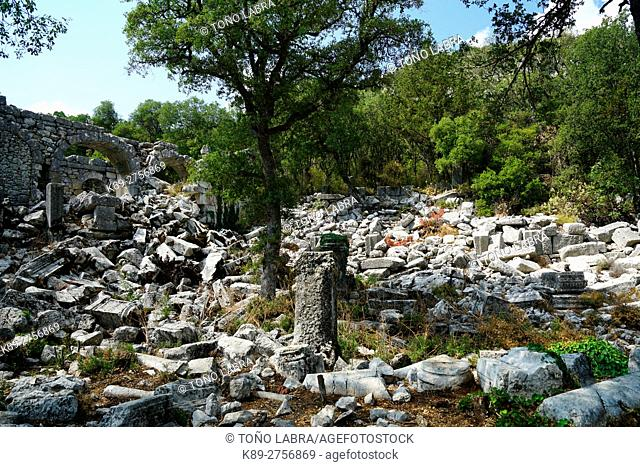 The Colonnade Way of Termessos. The unexcavated Pisidian city. Ancient Greece. Asia Minor. Turkey