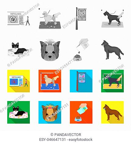 A dog in a lounger , a muzzle of a pet, a bowl with a feed, a sheepdog with a ball in his teeth. Pet , dog care set collection icons in monochrome