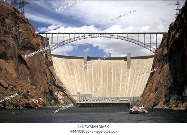 Arizona, bridge, Lake Powell, Colorado River, dam, electricity, energy, Glen Canyon Dam, gulch, hydroelectric, power