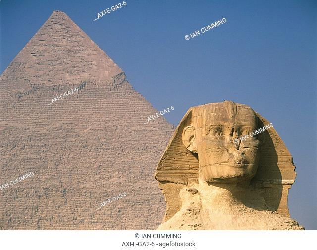 Sphinx and great pyramid of Chephren, Giza, Cairo, Egypt