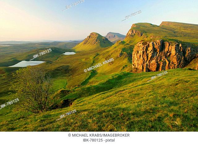 Quiraing landscape in early morning light, Isle of Skye, Western Highlands, Scotland, Great Britain, Europe