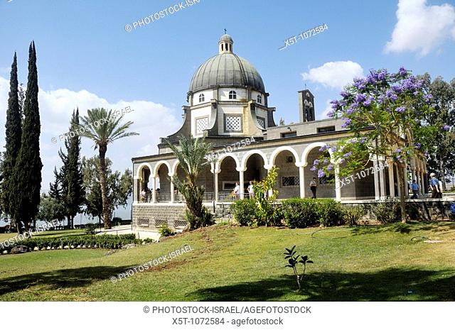Israel, Galilee, Church of the Beatitudes on the northern coast of the Sea of Galilee in Israel  The traditional spot where Jesus gave the Sermon on the Mount