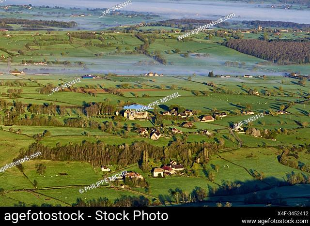 France, Burgundy, Saone et Loire, hedgerow landscape