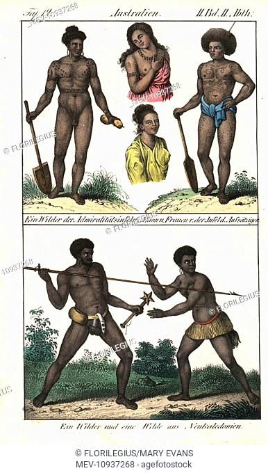 Native of Admiralty Island and New Caledonia. Handcolored lithograph from Friedrich Wilhelm Goedsche's Complete Gallery of Peoples in True Pictures, Meissen