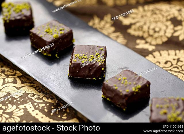 Chocolate cubes with pistachios for Christmas