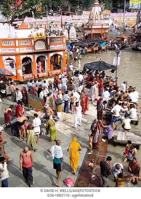 Pilgrims on the ghats on the River Ganges in Haridwar in the state of Uttarakhand in northern India