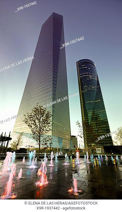 Cuatro Torres Business Area (CTBA), located along the Paseo de la Castellana. Madrid. Spain