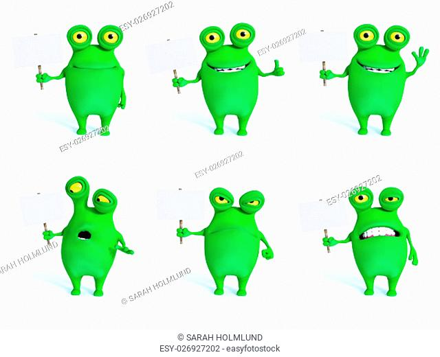 Collection of charming green monsters in different moods and poses holding blank signs, 3D rendering. White background