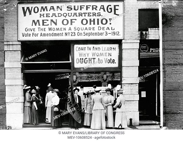 Woman suffrage headquarters in Upper Euclid Avenue, Cleveland - A. (at extreme right) is Miss Belle Sherwin, President, National League of Women Voters; B
