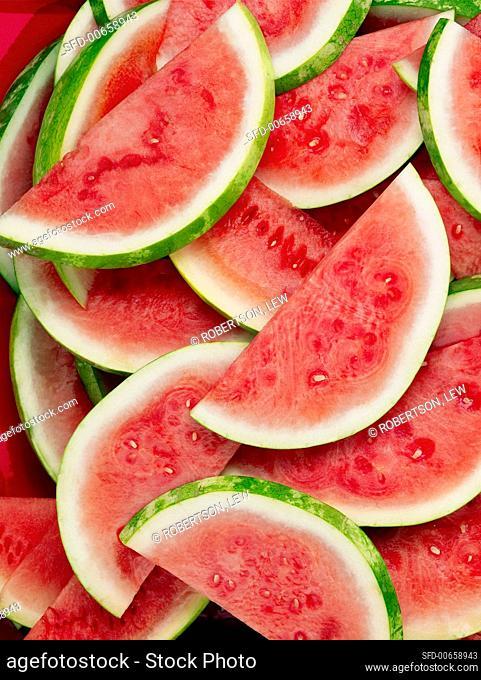 Many seedless watermelon slices (full-frame)