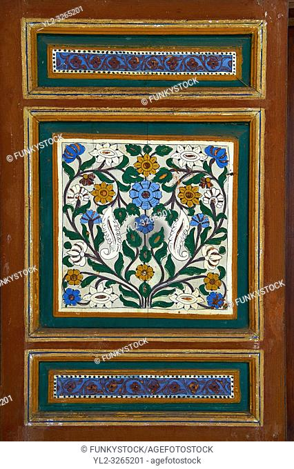 Berber arabesque wood painted panel. The Petite Court, Bahia Palace, Marrakesh, Morroco