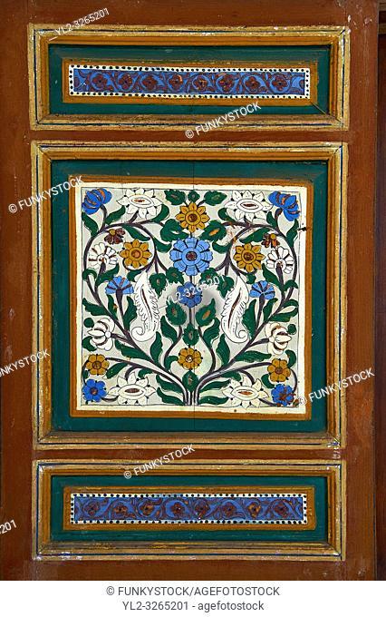 Berber arabesque wood painted panel. The Petite Court, Bahia Palace, Marrakesh, Morroco