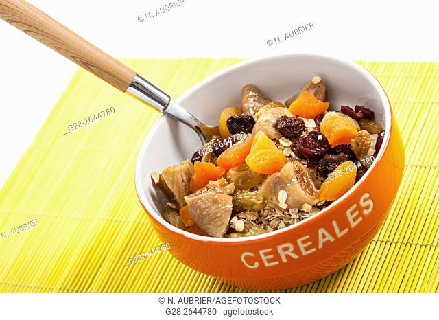 Appetizing cereal morning bowl with muesli
