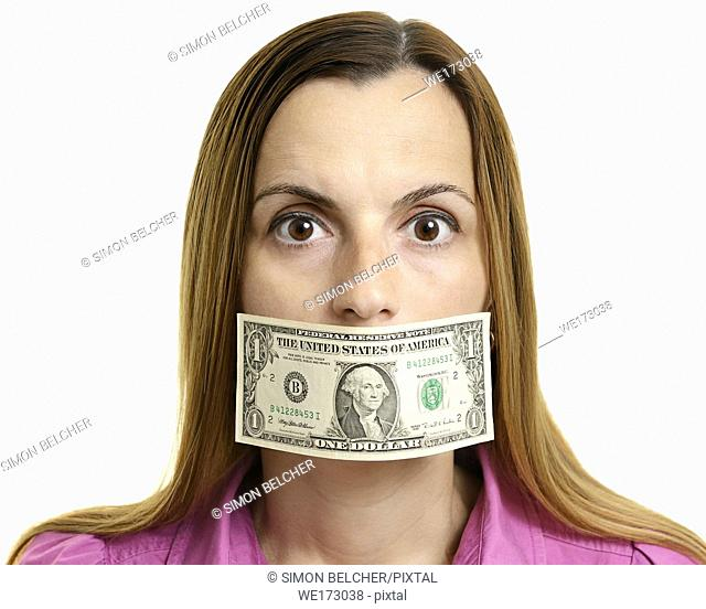 Woman Silenced by Money Gagging Her Mouth